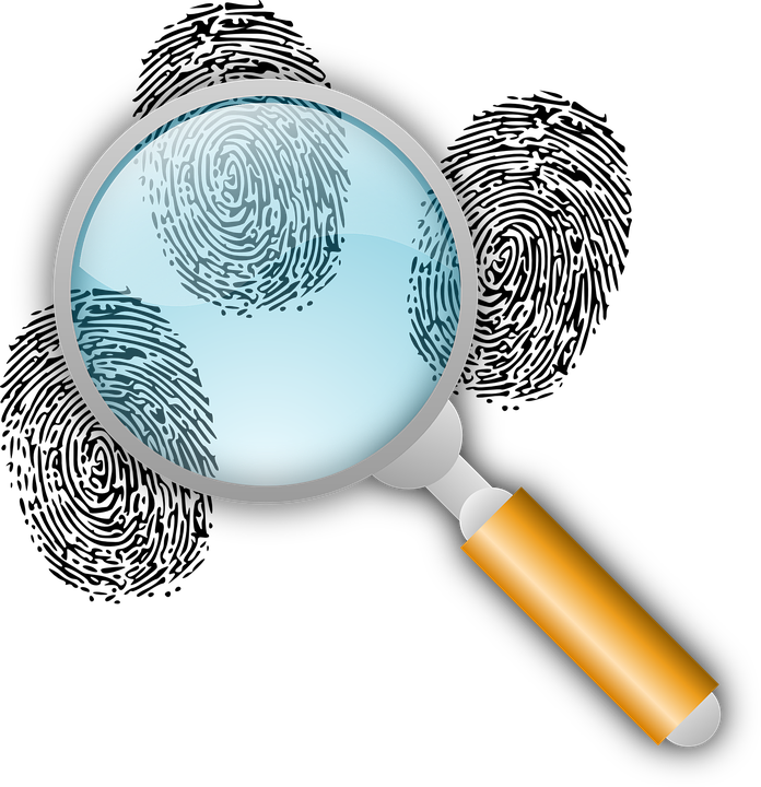 magnifying glass an fingerprint graphic